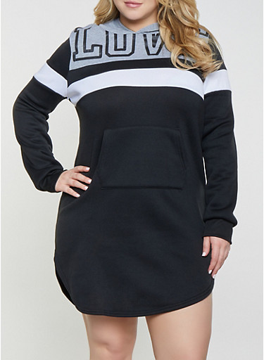 Plus Size Love Color Block Sweatshirt Dress,BLACK,large