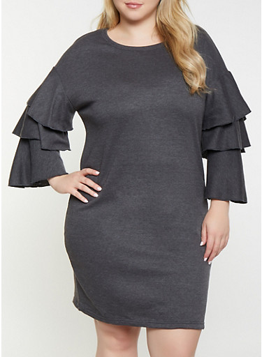 Plus Size Tiered Sleeve Sweatershirt Dress,CHARCOAL,large