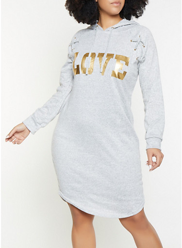 Plus Size Love Foil Graphic Sweater Dress by Rainbow