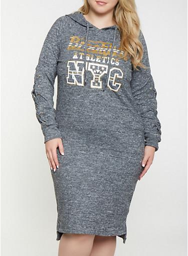 Plus Size NYC Lace Up Sleeve Sweatshirt Dress,CHARCOAL,large