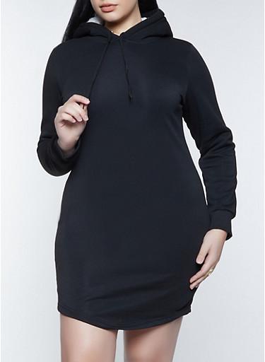 Plus Size Sherpa Lined Hood Sweatshirt Dress,BLACK,large