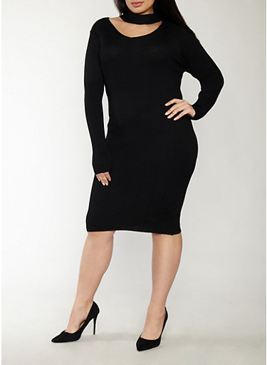 Plus Size Rib Knit Keyhole Neck Sweater Dress,BLACK,large