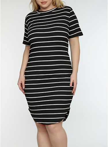 Plus Size Striped Ribbed Knit Dress,BLACK/WHITE,large