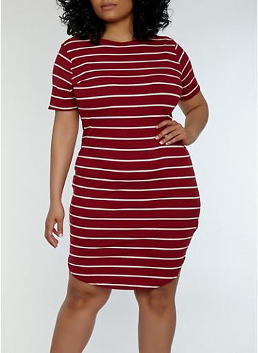 Plus Size Striped Ribbed Knit Dress | Tuggl