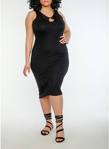 Plus Size Keyhole Midi Dress,BLACK,large