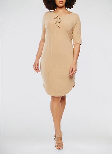 Plus Size Ribbed Knit Short Sleeve Midi Dress,KHAKI,large