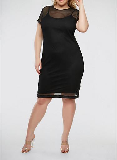 Plus Size Solid Fishnet Dress,BLACK,large