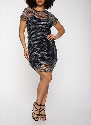 Plus Size Tie Dye Fishnet Dress,BLACK,large