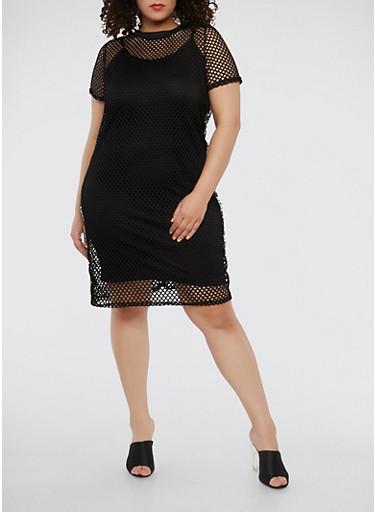 Plus Size Real Love Graphic Fishnet Dress,BLACK,large