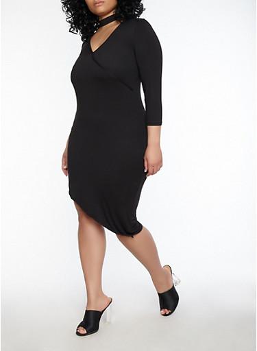 Plus Size Choker Neck Asymmetrical Dress,BLACK,large