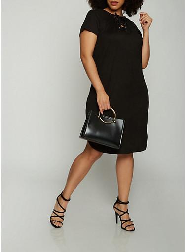 Plus Size Short Sleeve Lace Up T Shirt Dress,BLACK,large