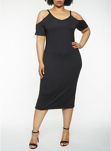 Plus Size Cold Shoulder Midi Dress,BLACK,large