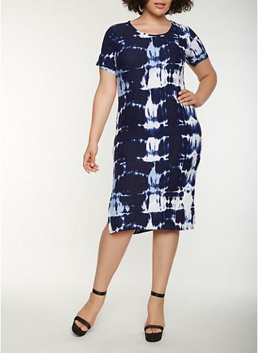 Plus Size Tie Dye T Shirt Dress,NAVY,large