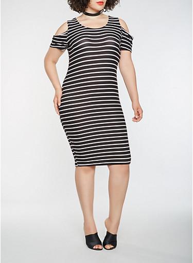 Plus Size Striped Cold Shoulder Midi Dress,WHT-BLK,large