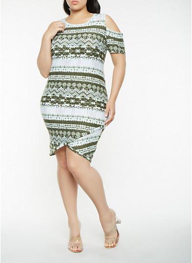 Plus Size Printed Cold Shoulder Dress,OLIVE,large
