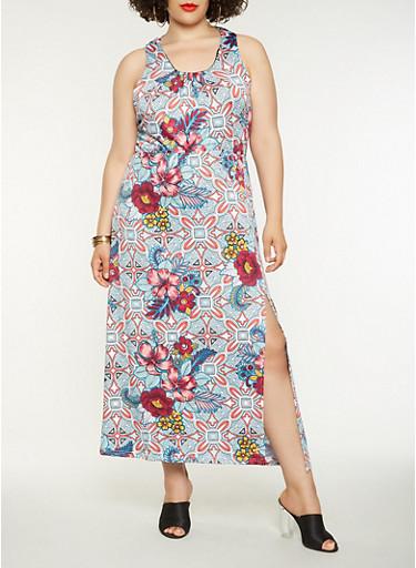 Plus Size Printed Maxi Dress,BLUE,large