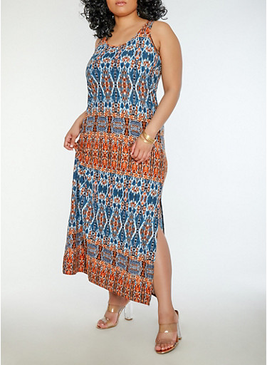 Plus Size Printed Tank Maxi Dress,RUST,large