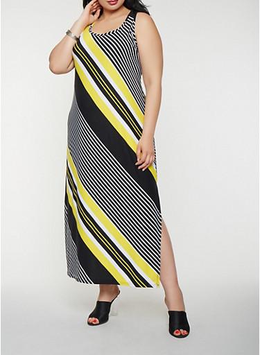 Plus Size Striped Tank Maxi Dress,BLACK,large