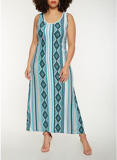 Plus Size Printed Tank Maxi Dress,MINT,large