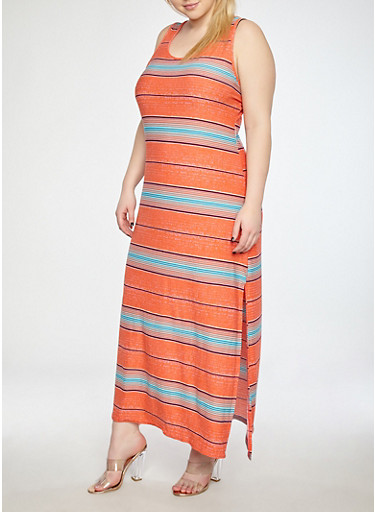 Plus Size Coral Stripe Tank Maxi Dress,CORAL,large