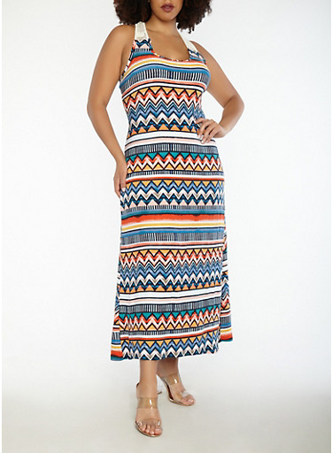Plus Size Printed Crochet Trim Tank Maxi Dress | Tuggl