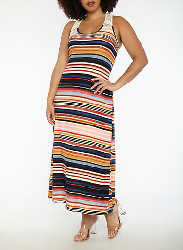 Plus Size Striped Tank Maxi Dress with Crochet Trim,MULTI COLOR,large