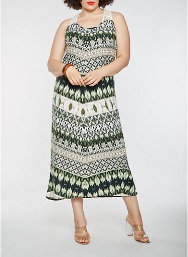 Plus Size Printed Crochet Trim Tank Maxi Dress,OLIVE,large