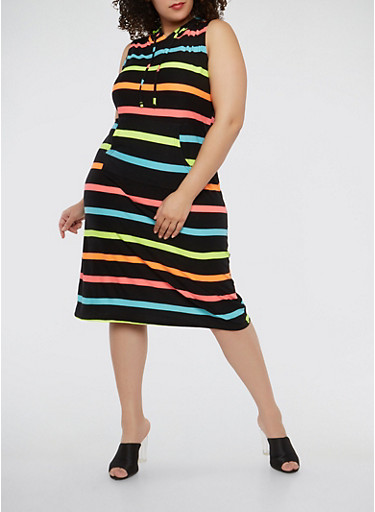 Plus Size Soft Knit Striped Hooded Dress,BLACK,large