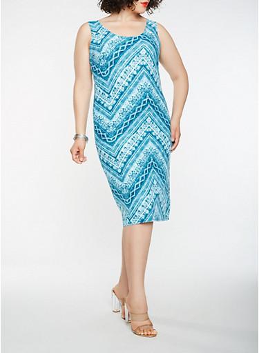 Plus Size Printed Midi Tank Dress,TEAL,large