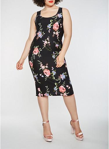 Plus Size Soft Knit Floral Midi Tank Dress,BLACK,large