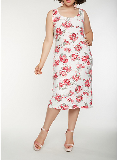 Plus Size Floral Soft Knit Tank Dress,IVORY,large