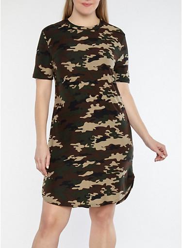 Plus Size Camouflage Print T Shirt Dress,CAMOUFLAGE,large
