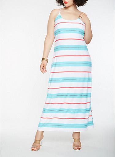 Plus Size Striped Tank Maxi Dress,WHITE,large