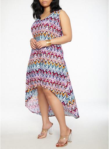 Plus Size Soft Knit High Low Dress,MULTI COLOR,large