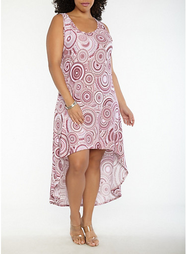 Plus Size Printed High Low Tank Dress,MAUVE,large