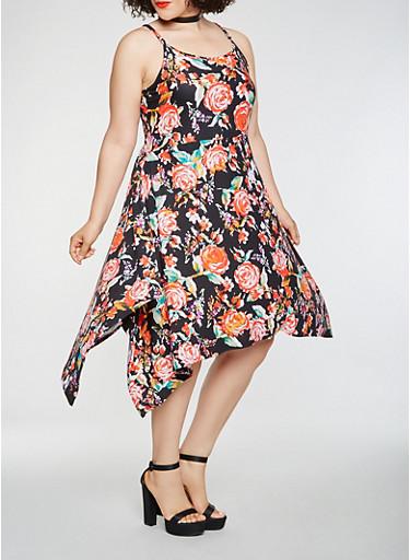 Plus Size Printed Asymmetrical Dress,BLACK,large