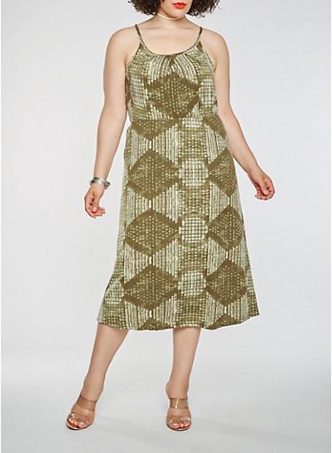 Plus Size Printed Midi Dress,OLIVE,large