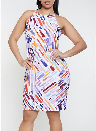 Plus Size Geometric Print Midid Tank Dress,WHITE,large