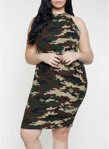 Plus Size Camo High Neck Tank Dress,OLIVE,large