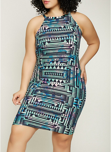 Plus Size Printed High Neck Dress,GREEN,large