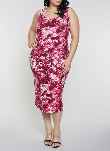 Plus Size Tie Dye Tank Dress,WINE,large