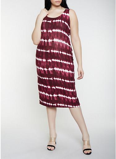 Plus Size Tie Dye Soft Knit Dress,WINE,large
