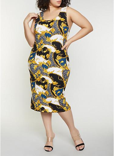 Plus Size Leaf Print Tank Dress,BLACK,large