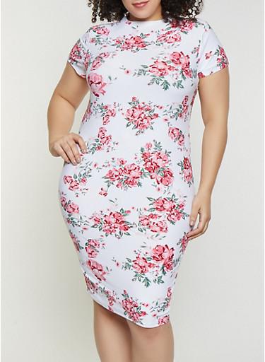 Plus Size Floral Mock Neck Dress,IVORY,large