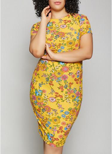 Plus Size Floral Bodycon Dress | 1390038349050,GOLD,large
