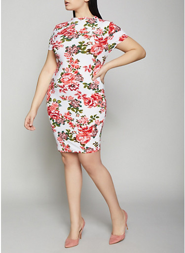 Plus Size Floral Bodycon Dress,IVORY,large