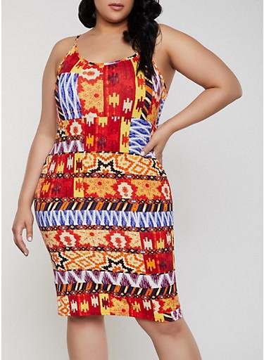 Plus Size Aztec Print Cami Dress,MULTI COLOR,large