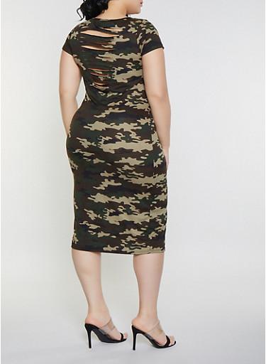 Plus Size Slashed Camo T Shirt Dress,OLIVE,large
