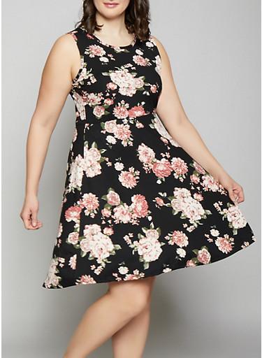 Plus Size Floral Skater Dress,BLACK,large