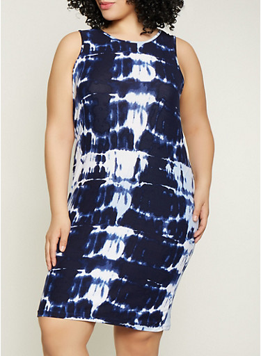 Plus Size Tie Dye Midi Tank Dress,NAVY,large